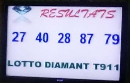 Résultats du lotto DIAMANT tirage 911