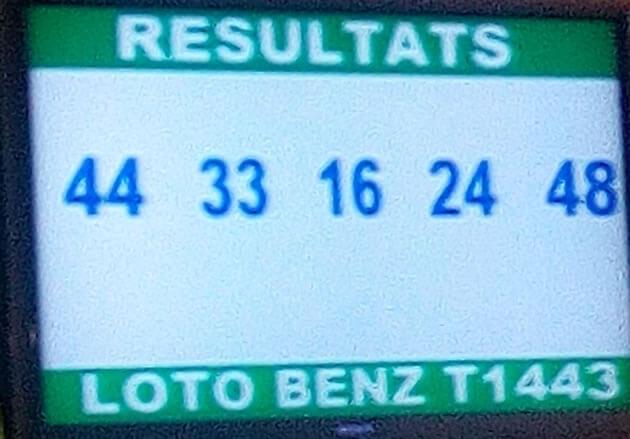 Numéros gagnants au lotto Benz tirage 1443