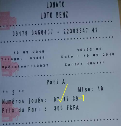 Numéros joués au loto Benz