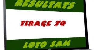 Résultats du loto SAM tirage 70