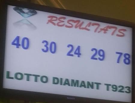 Résultats du lotto Diamant tirage 923 du lundi 22 Octobre 2018