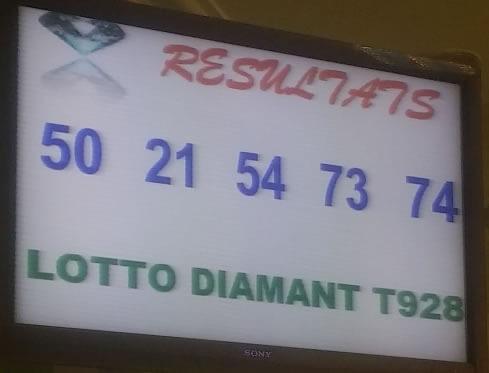 Résultats lotto Diamant tirage 928