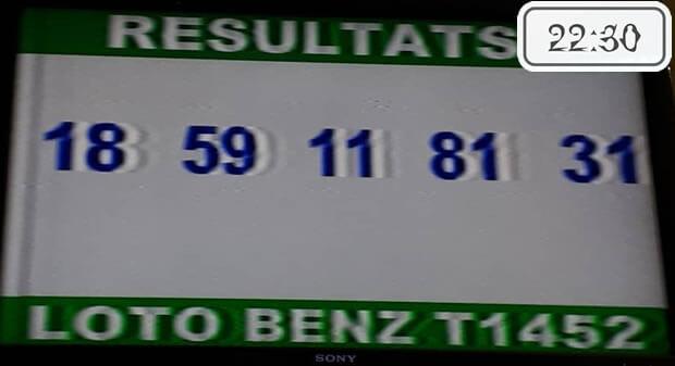 Résultats lotto Benz tirage 1452