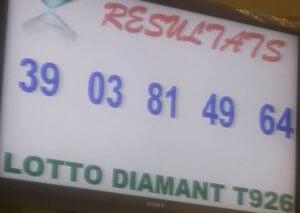 Résultats du lotto Diamant tirage 926