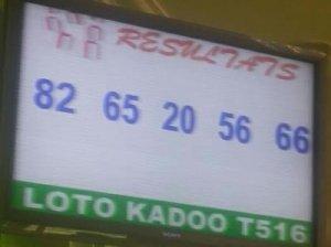 Résultats Lotto Kadoo tirage 516
