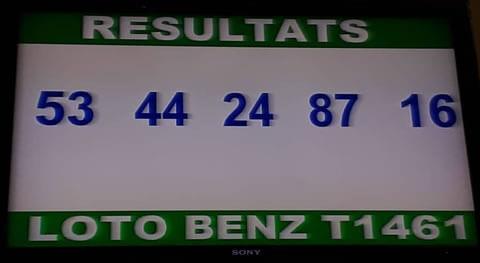 Les résultats du lotto ou loto benz tirage 1461 de ce mercredi 16 Janvier 2019 sont: 53 - 44 - 24 - 87 - 16