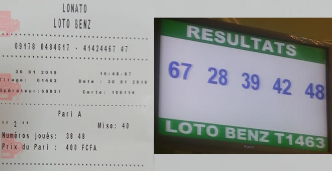 Ticket jeu lotto
