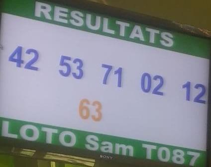 Résultats ou numéros gagnants du lotto Sam tirage 87