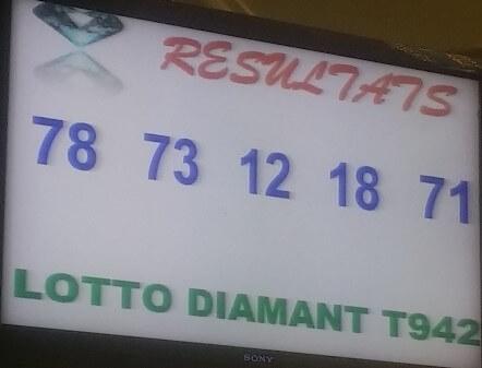 les Résultats ou numéros gagnants du Lotto diamant tirages 942