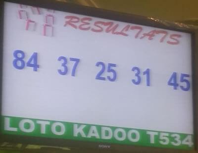 Les résultats du lotto Kadoo tirage 534