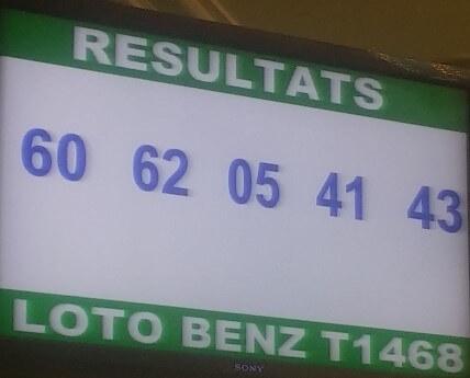 Les résultats ou numéros gagnants du lotto Benz tirage 1468 de ce  06 Mars 2018