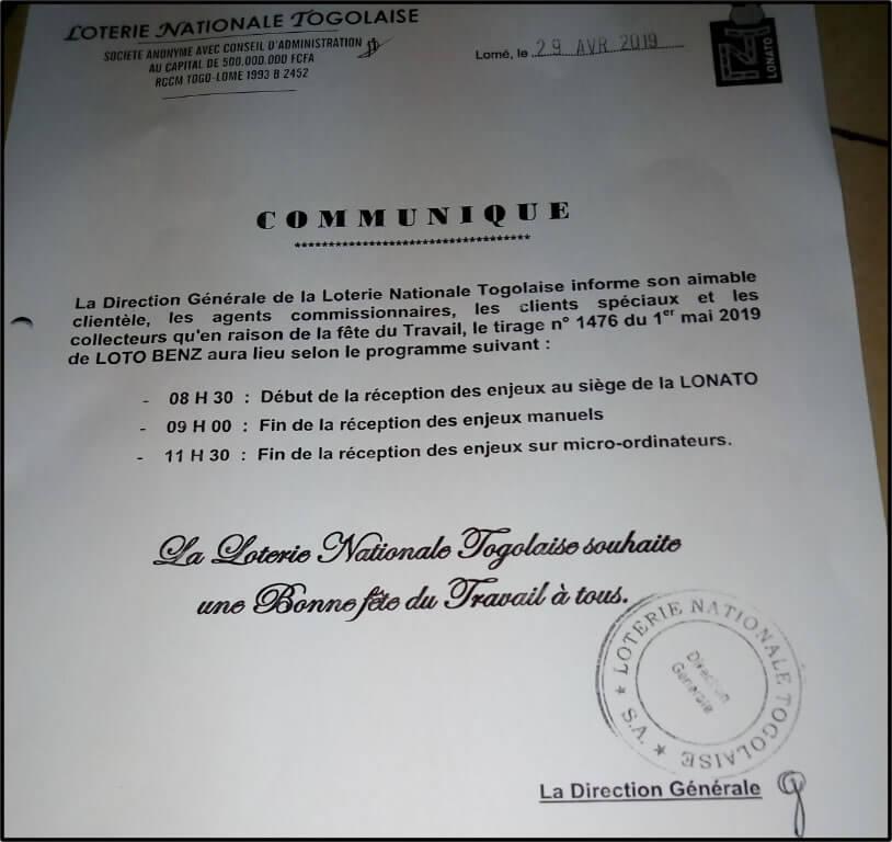 Communiqué de la Loterie Nationale Togolaise (LONATO)