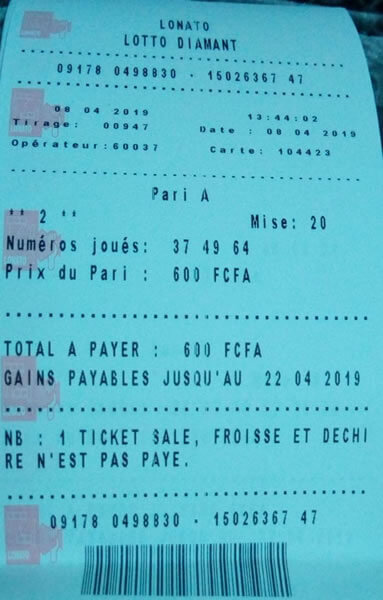 Coupons du lotto diamant tirage 947