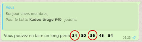 Pronostic lotto Kadoo tirage 940