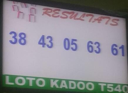 Les numéros gagnant du lotto Kadoo tirage 940
