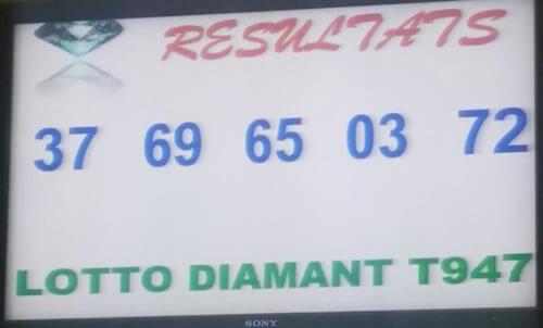 Les résultats ou numéros gagnants du lotto diamant tirage 947