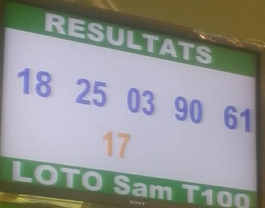 Numéros gagnants du loto sam tirage 100