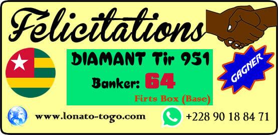Félicitation: victoire au lotto Diamant tirage 951