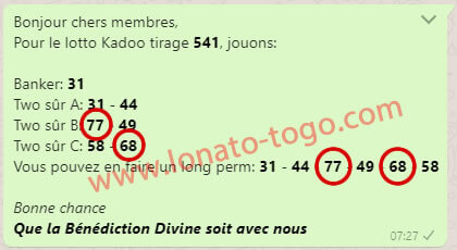 "Pronostic lotto Kadoo tirage 541 du groupe whatsapp ""One Banker to Win"""