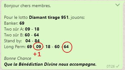 "Pronostics lotto Diamant tirage 951 du groupe whatsapp ""One banker to Win""."