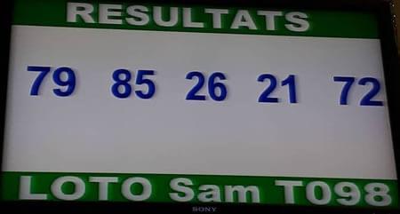 Les Résultats du loto Sam tirage 98 du 11 Mai 2019