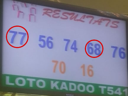 Résultats, numéros gagnants du lotto Kadoo tirage 541