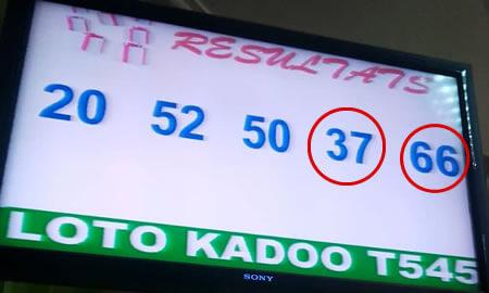 Résultats ou Numéros gagnants du lotto Kadoo tirage 545