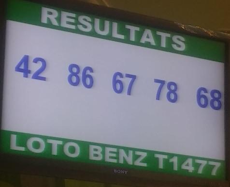 Les Numéros gagnants du loto Benz tirage 1477 du mercredi 8 Mai 2019.