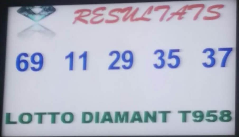 Les numéros gagnants ou résultats du loto Diamant tirage 958