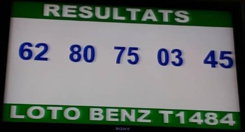 Numéro gagnants ou résultats du lotto Benz tirage 1484