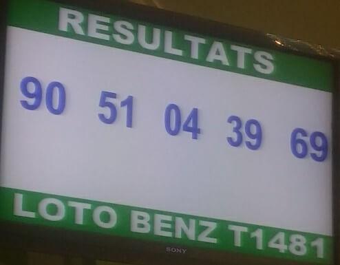 Résultats ou numéros gagnants du loto Benz tirage 1481