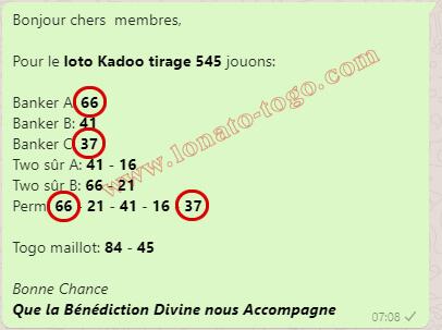 "Pronostics du groupe ""One banker to win"" pour le loto Kadoo tirage 545"