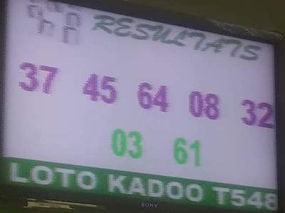Les résultats ou numéros gagnants du loto Kadoo tirage 548