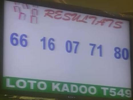 Résultats ou numéros gagnants du loto Kadoo tirage 549