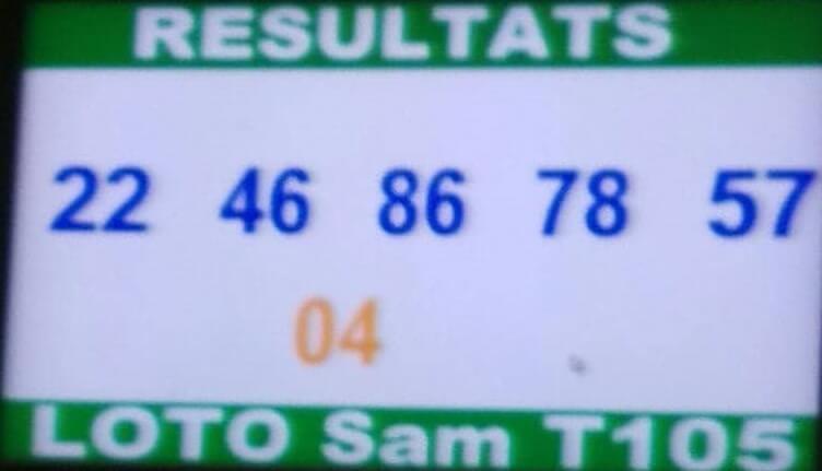 Résultats ou numeros gagnants du lotto sam tirage 105