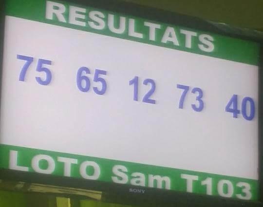 Résultats ou Numéros gagnants du lotto Sam tirage 103