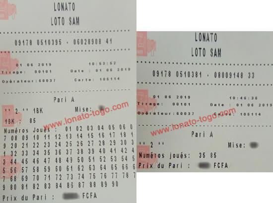 Coupons gagnants pour le lotto Sam tirage 101