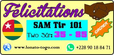 Two sûr gagné, pour le loto Sam tirage 101