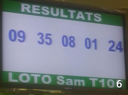 Numéros du lotto Sam tirage 106