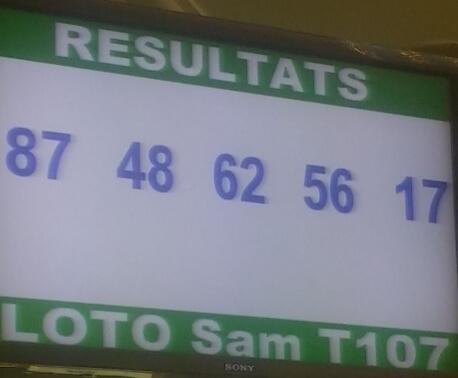 Numéros gagnants du loto Sam tirage 107