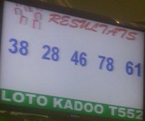 Numéros du lotto Kadoo tirage 552