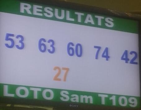Numéros gagnants du lotto Sam tirage 109