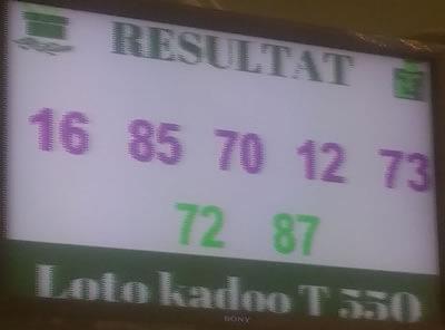 Numéros gagnants ou résultats du lotto Kadoo tirage 550