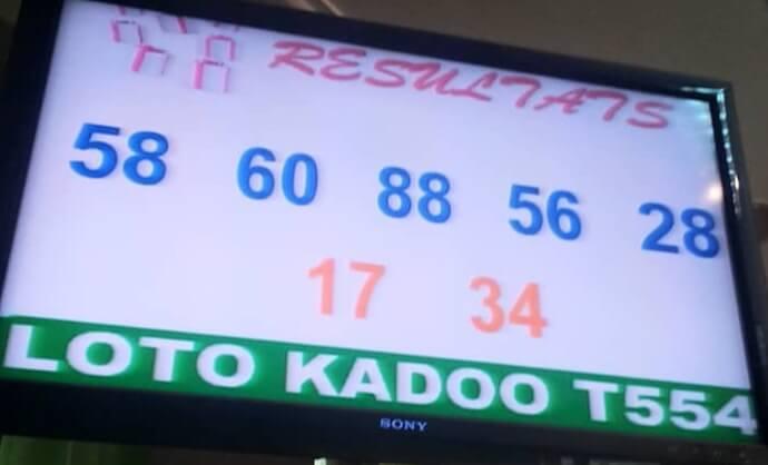 Numéros gagnants du lotto Kadoo tirage 554