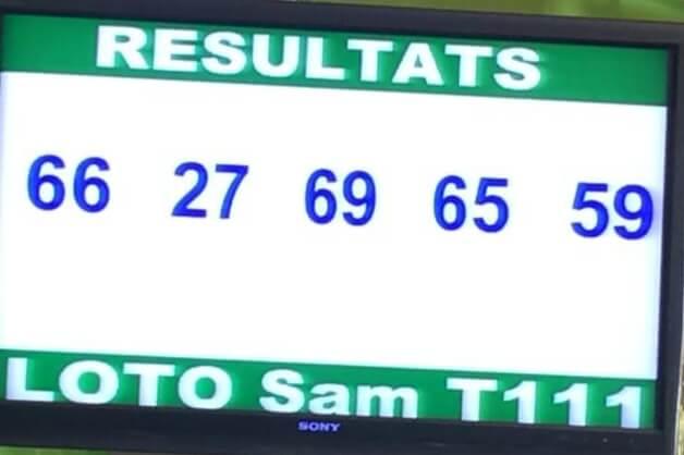 Résultats ou numéro gagnants du lotto Sam tirage 111.