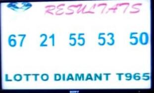Numéros gagnants du lotto Diamant tirage 965