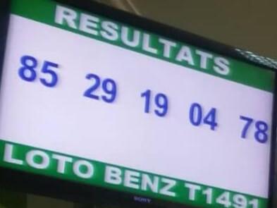Résultats ou numéro gagnants du lotto Benz tirage 1491.