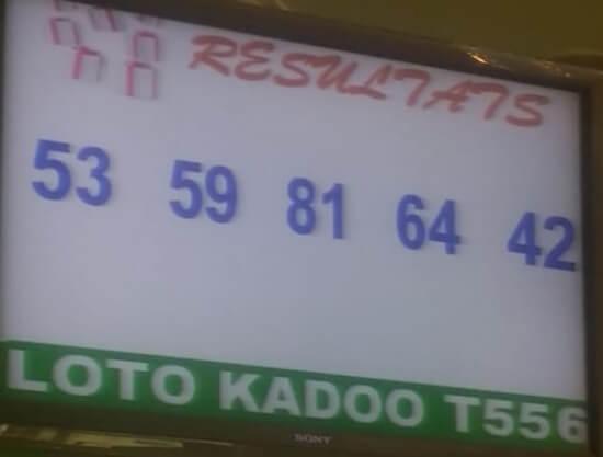 Résultats ou numéro gagnants du lotto Kadoo tirage 556