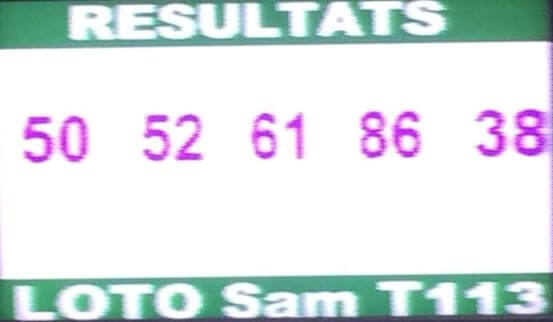 Résultats ou numéros gagnants du lotto Sam tirage 113