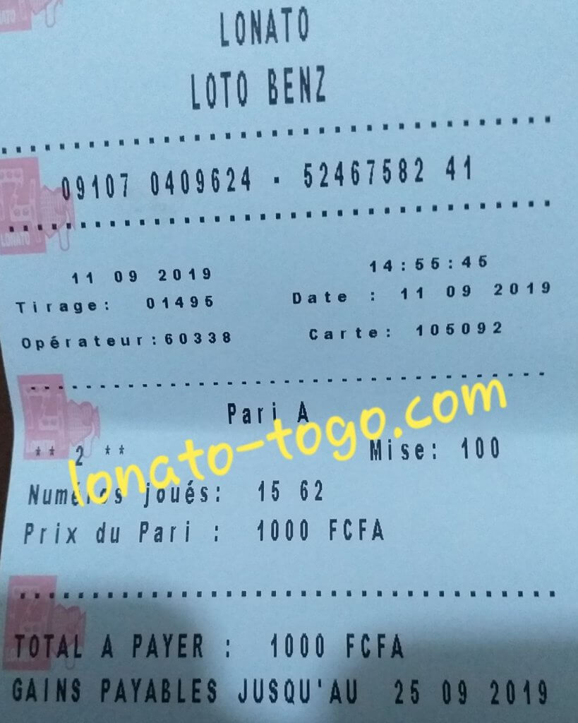 Jeux lotto Benz tirage 1495